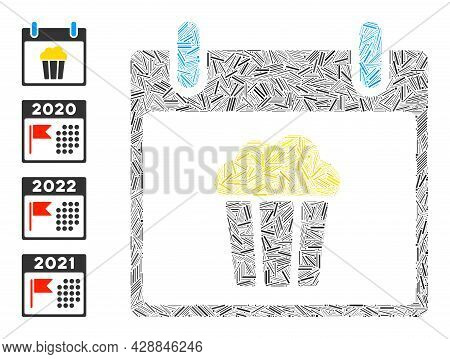 Line Collage Popcorn Calendar Day Icon Designed From Thin Items In Different Sizes And Color Hues. L