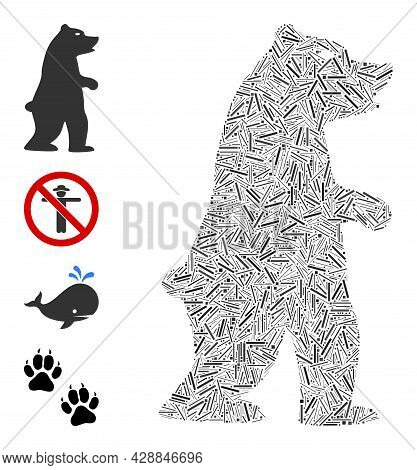 Hatch Collage Standing Bear Icon Composed Of Straight Items In Different Sizes And Color Hues. Line