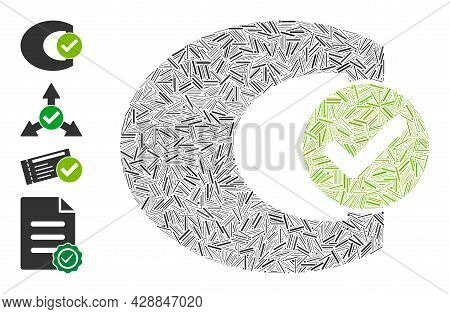 Hatch Mosaic Standard Check Icon Designed From Narrow Elements In Various Sizes And Color Hues. Irre