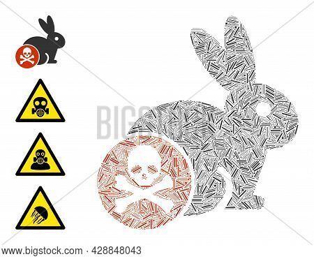Line Mosaic Rabbit Toxin Icon Designed From Thin Items In Different Sizes And Color Hues. Line Items