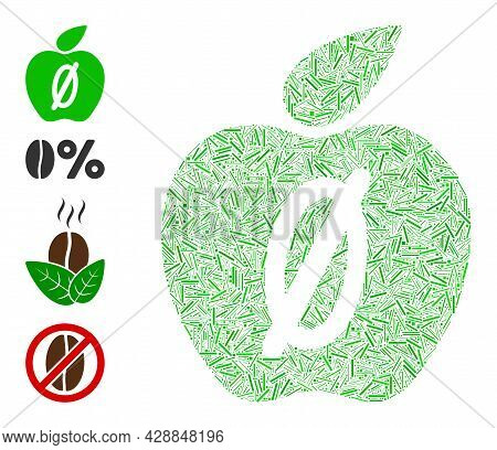 Hatch Collage Zero Calories Apple Icon Constructed From Straight Items In Random Sizes And Color Hue