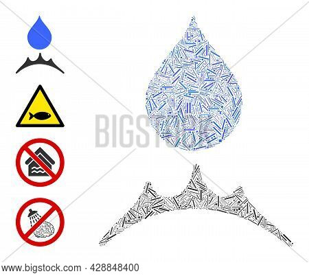 Hatch Collage Water Resistent Icon United From Narrow Items In Different Sizes And Color Hues. Irreg