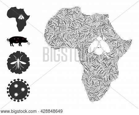 Hatch Collage African Trypanosomiasis Icon United From Thin Elements In Various Sizes And Color Hues