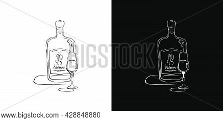 Bottle And Glass Liquor Together In Hand Drawn Style. Beverage Outline Icon. Restaurant Illustration