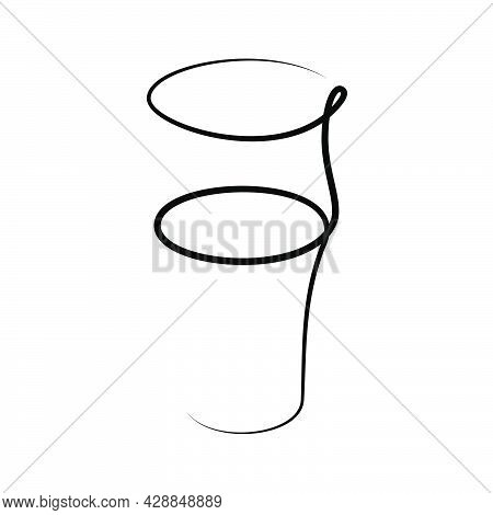 Beer Wineglass On White Background. Graphic Arts Sketch Design. Black One Line Drawing Style. Hand D