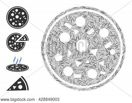 Hatch Mosaic Entire Pizza Icon Designed From Narrow Items In Various Sizes And Color Hues. Irregular