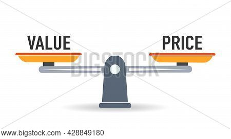 Balance Scale Weight For Price And Value. Vector Illustration.