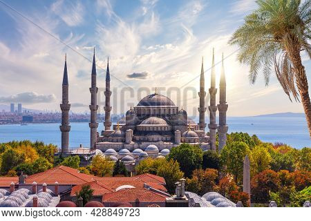 View On The Blue Mosque And Roofs Of Sultanahmet District, Fatih, Istanbul, Turkey