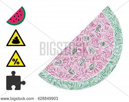 Linear Mosaic Watermelon Piece Icon Designed From Thin Items In Various Sizes And Color Hues. Linear