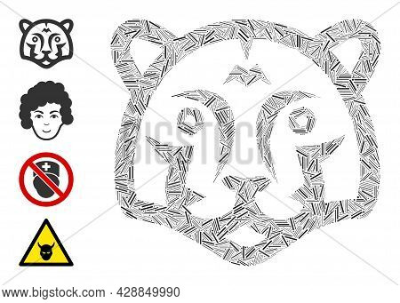 Hatch Mosaic Tiger Head Icon Designed From Narrow Items In Variable Sizes And Color Hues. Irregular