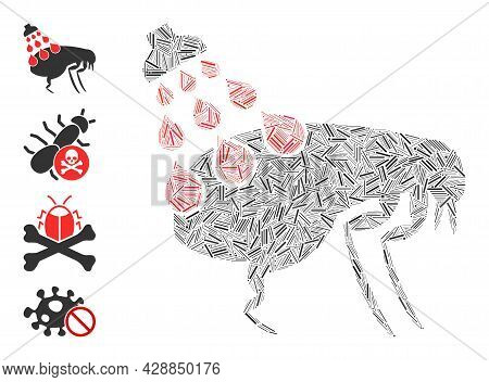 Linear Collage Get Rid Of Fleas Icon Organized From Narrow Elements In Different Sizes And Color Hue