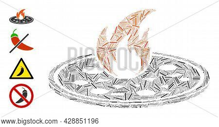 Linear Mosaic Hot Pizza Icon Organized From Narrow Elements In Different Sizes And Color Hues. Linea