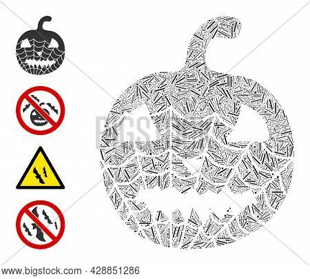 Linear Collage Old Halloween Pumpkin Icon Constructed From Thin Elements In Variable Sizes And Color