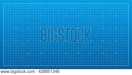 Blank Architectural Blueprint Grid Background. Empty Lined Template For Technical, Industrial Drawin