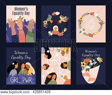 Women Equality Day. Fight For Equality, Freedom, Independence. Vector Illustrations Of Posters And T