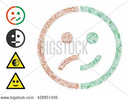 Hatch Mosaic Bipolar Emotion Icon Organized From Thin Items In Various Sizes And Color Hues. Irregul