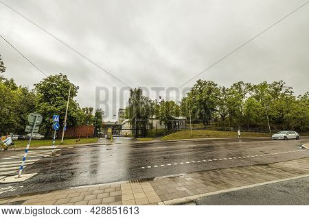 Landscape View Of Building Of Russian Embassy In Stockholm On Rainy Autumn Day. 08.02.2021. Stockhol