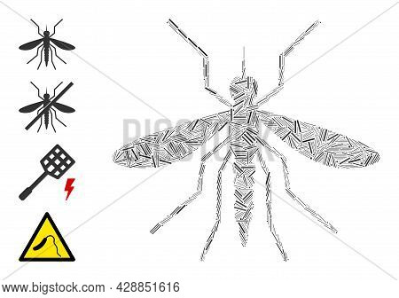 Linear Mosaic Mosquito Icon Designed From Narrow Items In Random Sizes And Color Hues. Linear Items