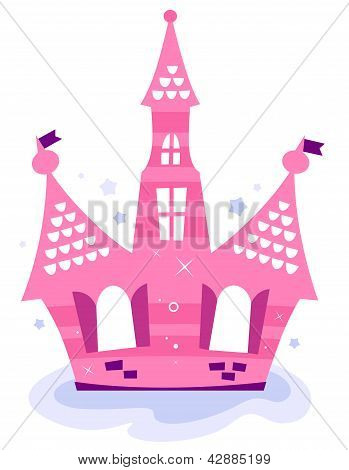 Pink Princess Sky Castle Isolated On White