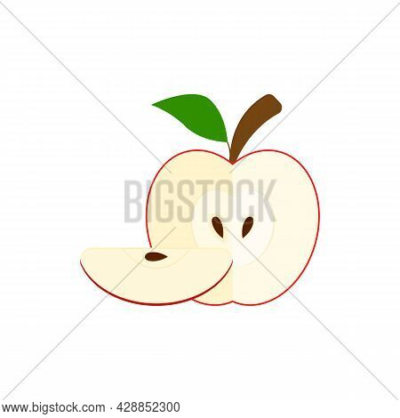 Half Red Apple And Quarter Apple With A Seed Inside. Apple Icon With A Slice, Branch And Leaf. Vecto