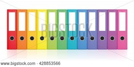 Rainbow Colored Set Of Ring Binders, Colorful Blank Leaf Binder Map Collection For Happy Office Orga