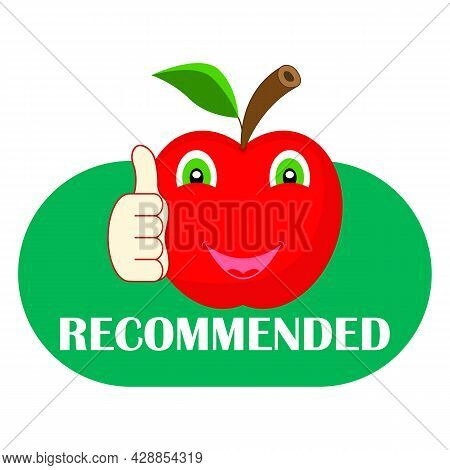 Apple Cartoon Character With Thumb Up. Recommended Banner, Icon. Red And Green Color. Vector Illustr