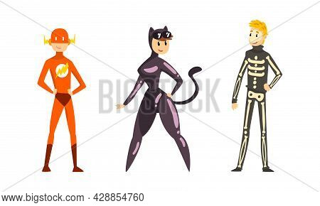 People Character Dressed In Carnival Costume For Masquerade Vector Set