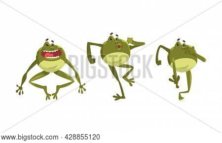 Funny Green Frog With Protruding Eyes Laughing And Running Vector Set