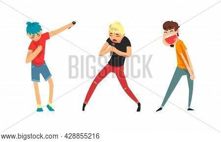 Rock And Pop Singers With Microphone Singing Performing On Stage Vector Set