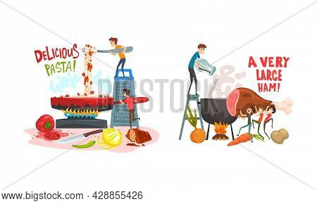 Tiny Man Character Cooking Pasta In Frying Pan And Boiling Ham Vector Set