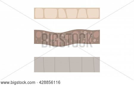 Walkway Of Cobblestone As Garden Footpath And Landscape Constructor Element Vector Set