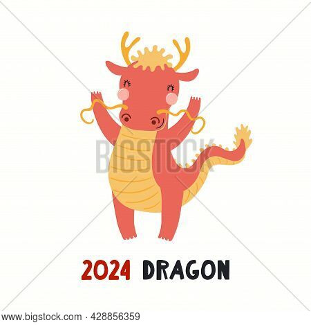 Cute Cartoon Dragon, Asian Zodiac Sign, Astrological Symbol, Isolated On White. Hand Drawn Vector Il