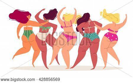 Swimsuits Women. Back View Body Positive Different Bikini Ladies, Happy Girlfriends Dancing, Summer