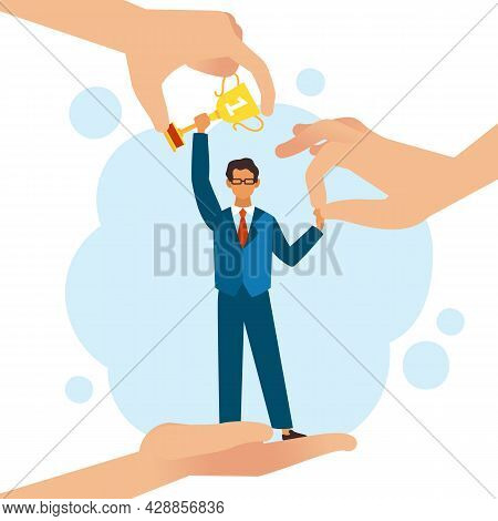 Guarantee Victory. Help Win. Support People In Achieving Goals. Cartoon Man With Award. Assistance H