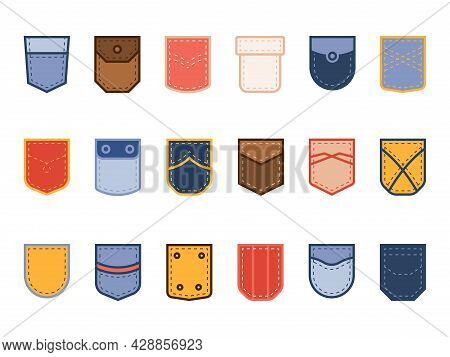 Color Patch Pocket. Cloth Bright Different Shapes Pockets, Casual Wear, Fabric, Jeans And Textile De