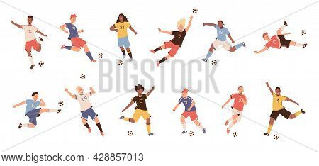 Soccer Players. Dynamic Football Athletes Poses Jumping Running And Kicking, Players Differently Kic