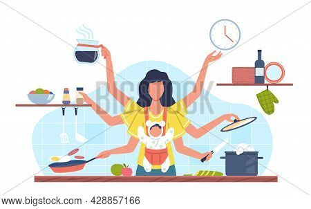 Domestic Tasks Woman. Multifunctional Female Character With Many Hands Doing Different Jobs, Mother