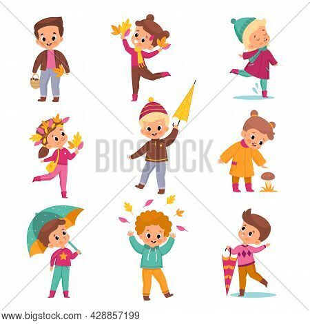 Rainy Day Children. Kids In Warm Autumn Outdoor Clothes, Cute Boys And Girls With Umbrellas And Yell
