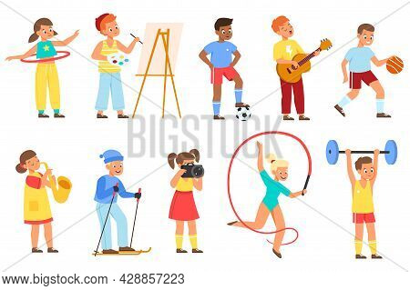 Kids Hobbies. Young Athletes, Musicians And Artists, Teenagers Hold Different Objects, Children Acti