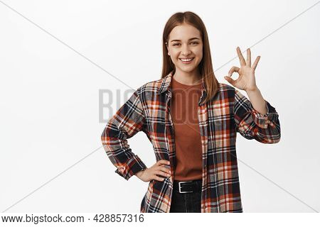 Very Well, Alright. Smiling Confident Woman Say Ok, Zero Or Okay Gesture, All Under Control, Satisfi