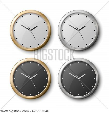 Vector 3d Realistic Metal Wall Office Clock Icon Set Isolated On White. White Dial, Black Dial. Desi