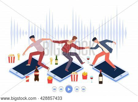 Online Party. Web Musical Festival. Digital Smartphone Conference. Cartoon People Celebrate Holiday