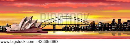 Australian City Of Sydney. Bridge Over The Bay. Sun, Sky With Clouds. Sunset.