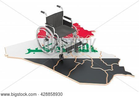 Wheelchair With Iraqi Flag. Disability In Iraq Concept, 3d Rendering Isolated On White Background