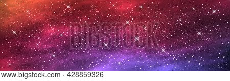 Space Background Wide. Long Banner With Starry Cosmos. Realistic Cosmic Texture With Nebula. Colorfu