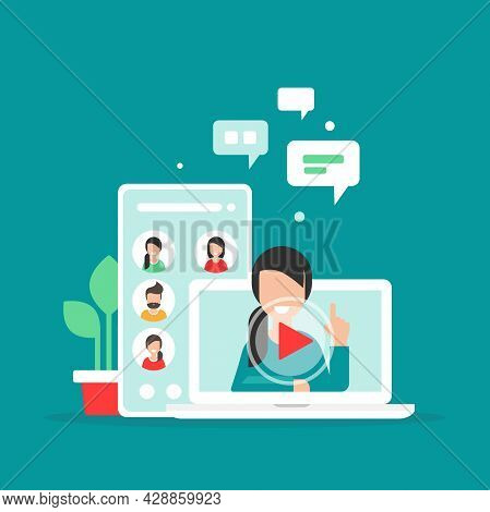 Webinar, Online Lass, Remote Team Work Concept. Learn And Study Via Teleconference Or Video Course.