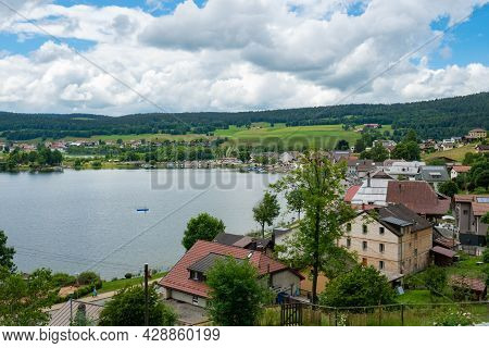 View Of Le Pont, A Beautiful Small Village Directly Situated At Lac De Joux In The Swiss Jura Mounta