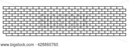 Long Brick Wall, With White Bricks And Gray Rims. Vector Illustration