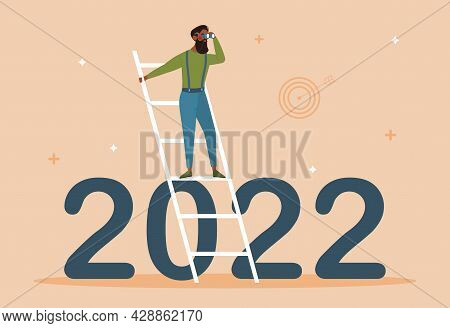 Business Outlook Concept. Businessman Uses Binoculars And Looks For Prospects For Development Of Com