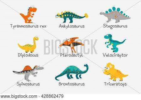 Vector Cute And Funny Flat Dinosaurs With Titles - T-rex, Stegosaurus, Velociraptor, Pterodactyl, Br